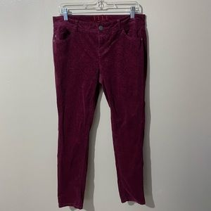 50% Off Red Velvet Skinny Pants Size 12 Regular